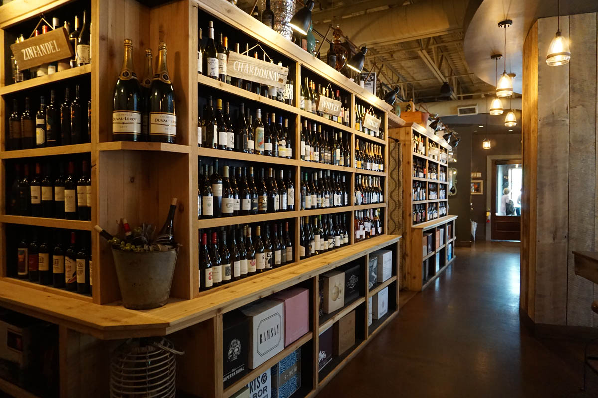 Napa wine shelves