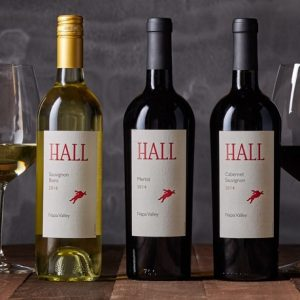 Hall bottles of wine