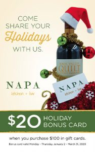 Bottle of wine decorated with Santa hat and ornaments advertising $20 holiday bonus gift card promotion.