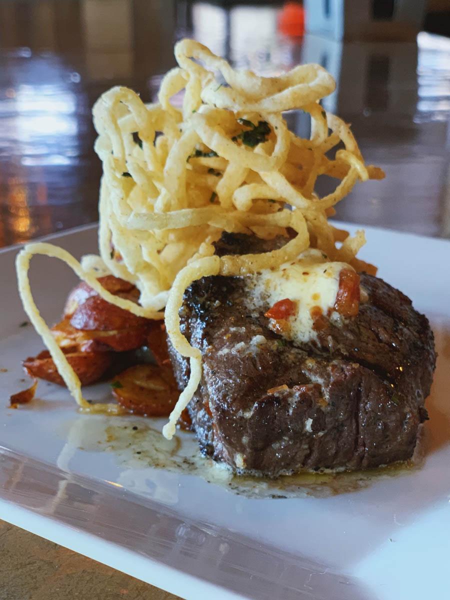 steak meal with garnish