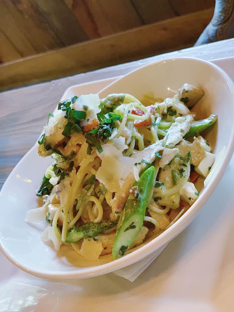 pasta dish with garnish