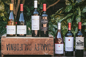 bottles of Cline Cellars wines displayed outside