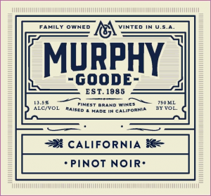 Murphy Good logo. Family Owned, vinted in USA. Established 1985. California. Pinot Noir.