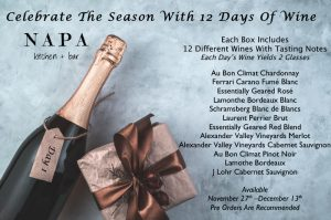 Celebrate the Season with 12 Days of Wine from Napa Kitchen + Bar. Box includes 12 different wines with tasting notes for each. List of wines is included.